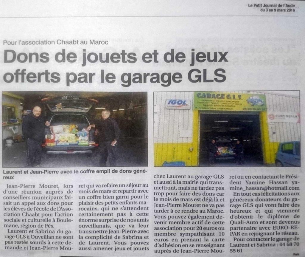 collecte de jouets et de fonds pour aider le village marocain de Chaabt